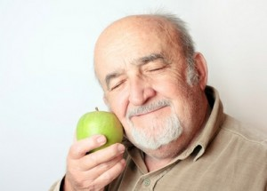 old man and apple