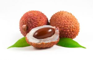 Lychees with leafs