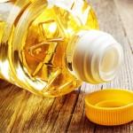 Vegetable oil in plastic bottle closeup