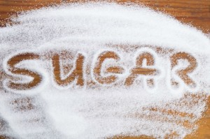 The word sugar written