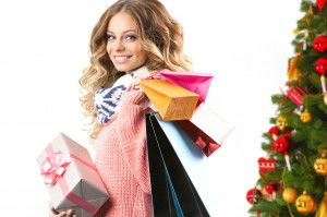 Woman with Christmas shopping