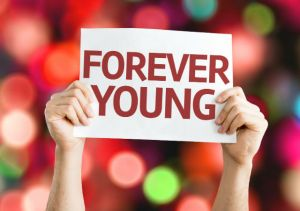 Forever Young card with colorful background