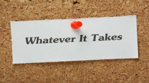 Whatever It Takes reminder on a cork notice board