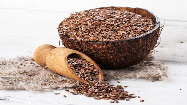 linseed, flax seeds on sackcloth
