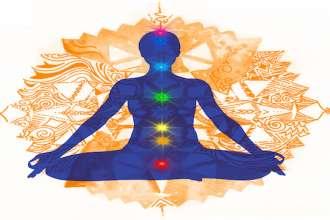 Posizione del Loto e chakra colorati