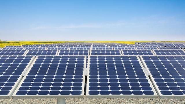 solar power plant in spring