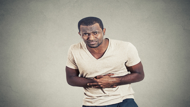Man with stomach pain