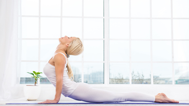 Yoga concept with young woman