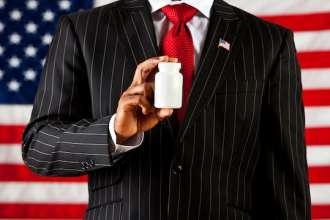 Politician: Holding a Blank Medicine Bottle