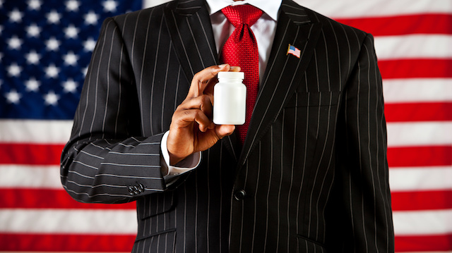Politician: Holding a Blank Medicine Bottle