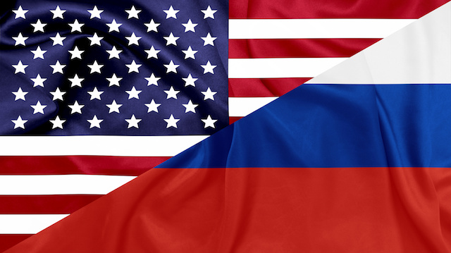 United states and Russian federation flags