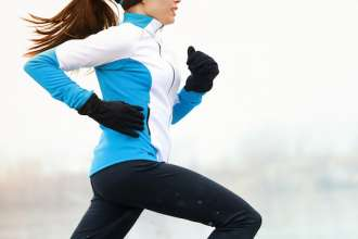 Running athlete in winter
