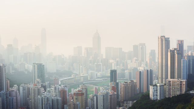 Air pollution hangs over the Happy Valley district of Hong Kong Island