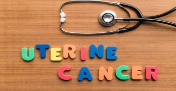 uterine cancer  colorful word with stethoscope on wooden background