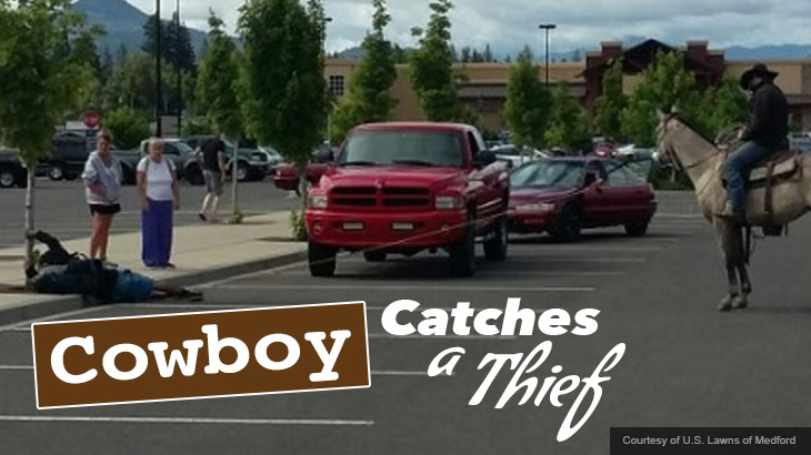 Cowboy Ropes A Thief In Walmart Parking Lot