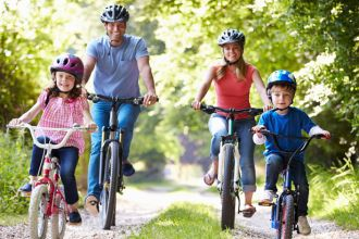 family-biking-to-stay-active