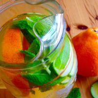 Tangerine, Cucumber and Mint Infused Water