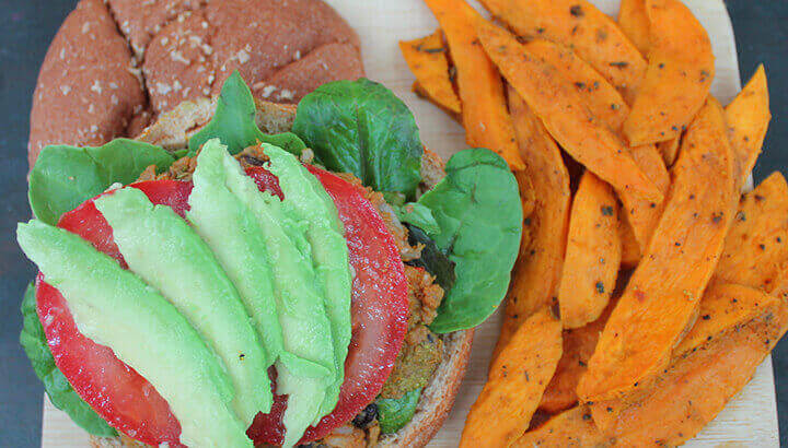 Sweet potato burger and fries to reduce cancer risk ready to eat