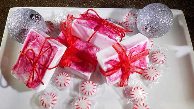 3 Ingredient Candy Cane Peppermint Soap