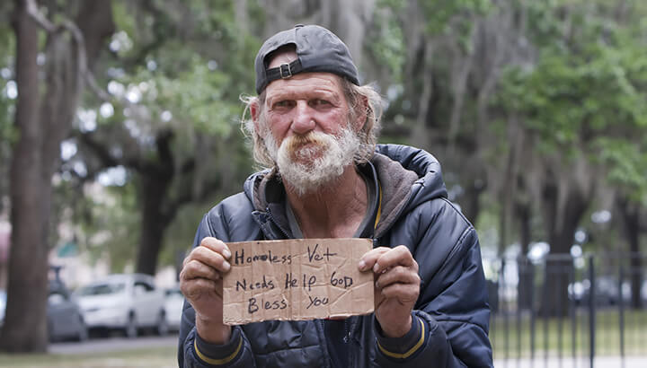 A high percentage of veterans are homeless