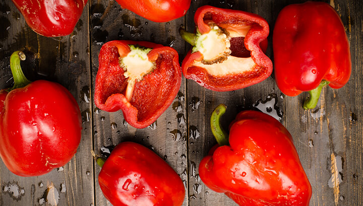 Raw foods like red peppers contain nutrients like vitamin C.