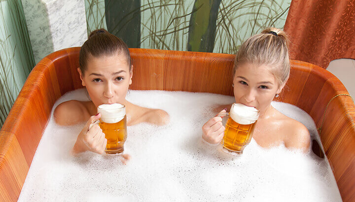Beer spas in Europe, Cananda and U.S. promote many health benefits.