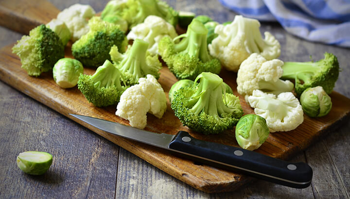 Broccoli, cauliflower and Brussels sprouts contain lots of protein.