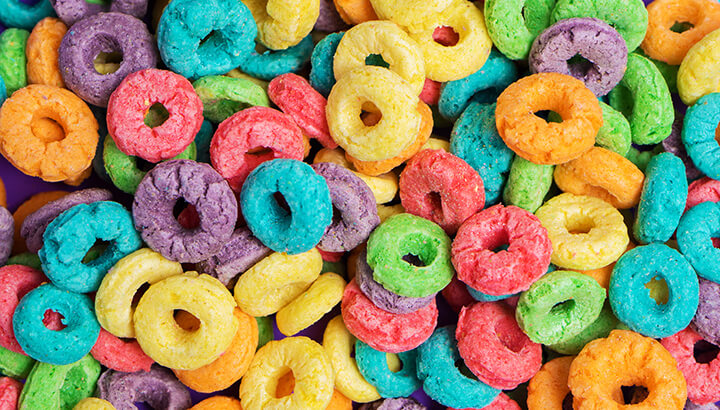 Fruit Loops cereal contains 41.1 percent sugar by weight.