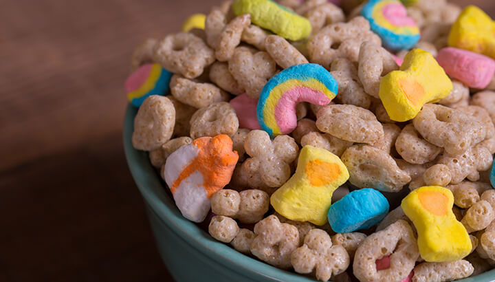 Lucky Charms cereal contains sugar, modified corn starch, corn syrup and more.