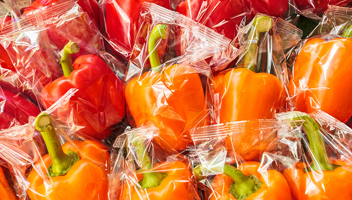Reduce plastic by picking out produce without packaging.