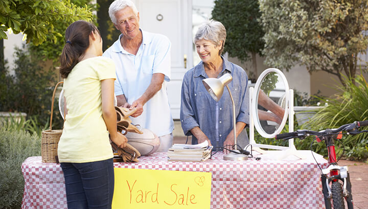 A yard sale can help you save money.