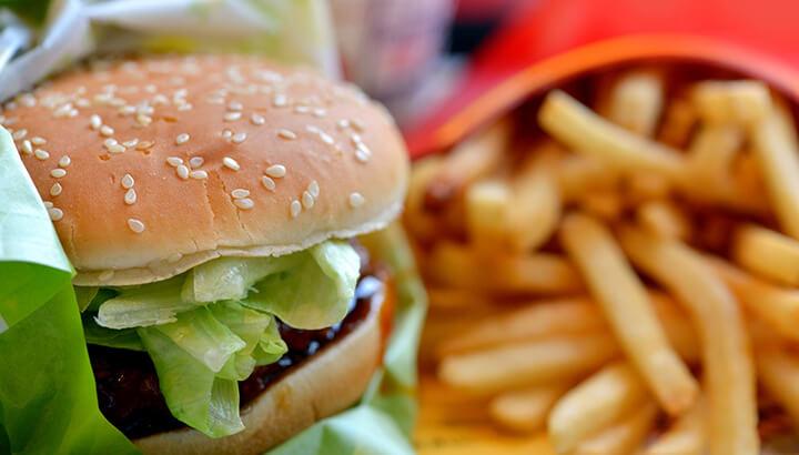 Burgers at McDonald's contain high calories and fat.
