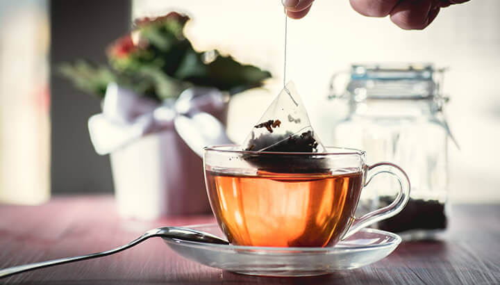 Chemicals in bagged tea can leach into the hot water.