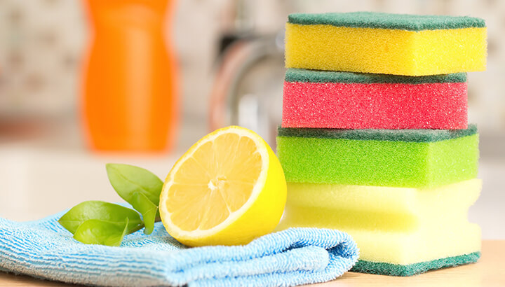 Soak kitchen sponges in baking soda and water instead of throwing them away.