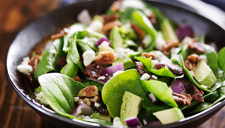 Add nuts to your salad for a quick fix of healthy fat.