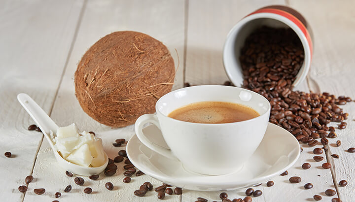 Coconut oil gives coffee a creamy consistency.