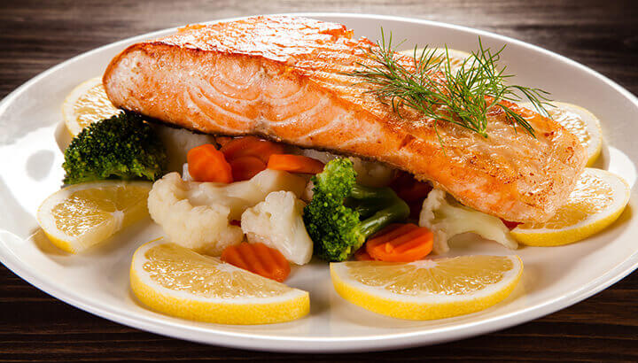 Wild caught salmon contains antioxidants to protect the eyes.