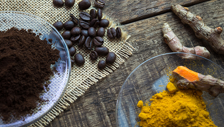 Use a coffee and turmeric scrub a few times a week for better skin.