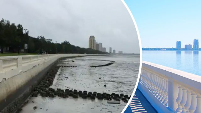 Bahamas' beaches left bone dry after Hurricane Irma sucks up the water