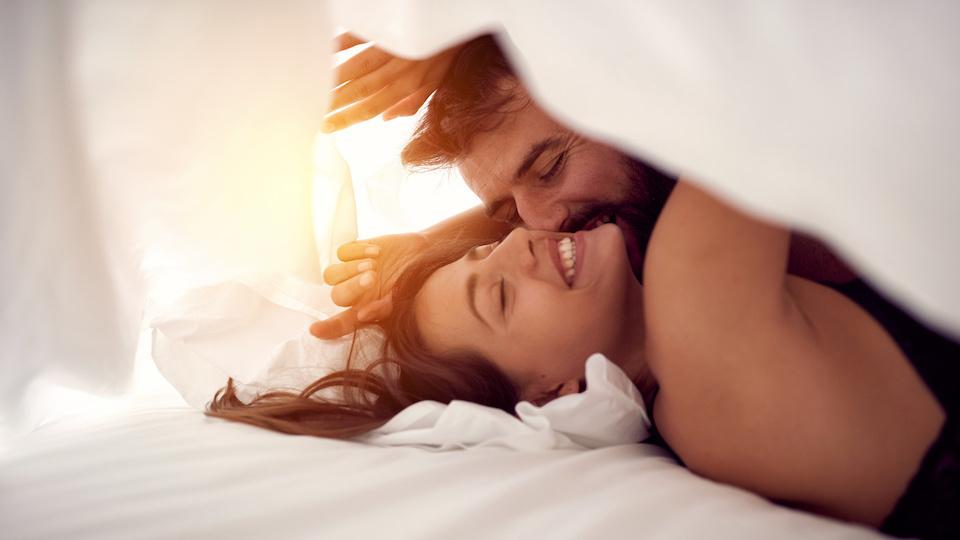 Lesbians grab have sex in bedroom tan
